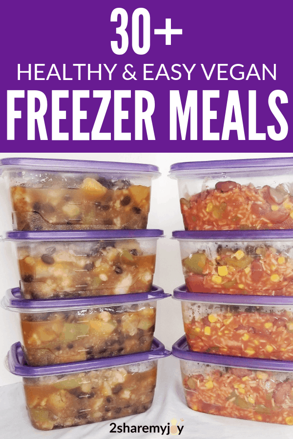 easy vegan freezer meals for new moms, or busy weeknight.Find crockpot friendly freezer meals for your family and save time in the kitchen. #crockpot #family #vegan #freezermeal