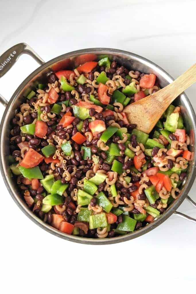 easy one pot taco pasta in a pot before cooking.