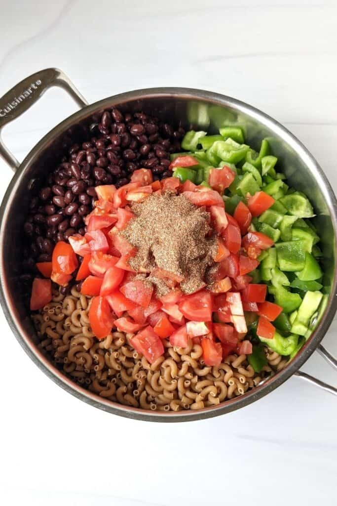 easy taco pasta ingredients in the pot