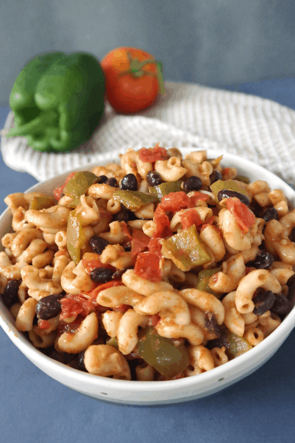 healthy vegan recipe on a budget. taco elbow pasta for an easy one pot meal