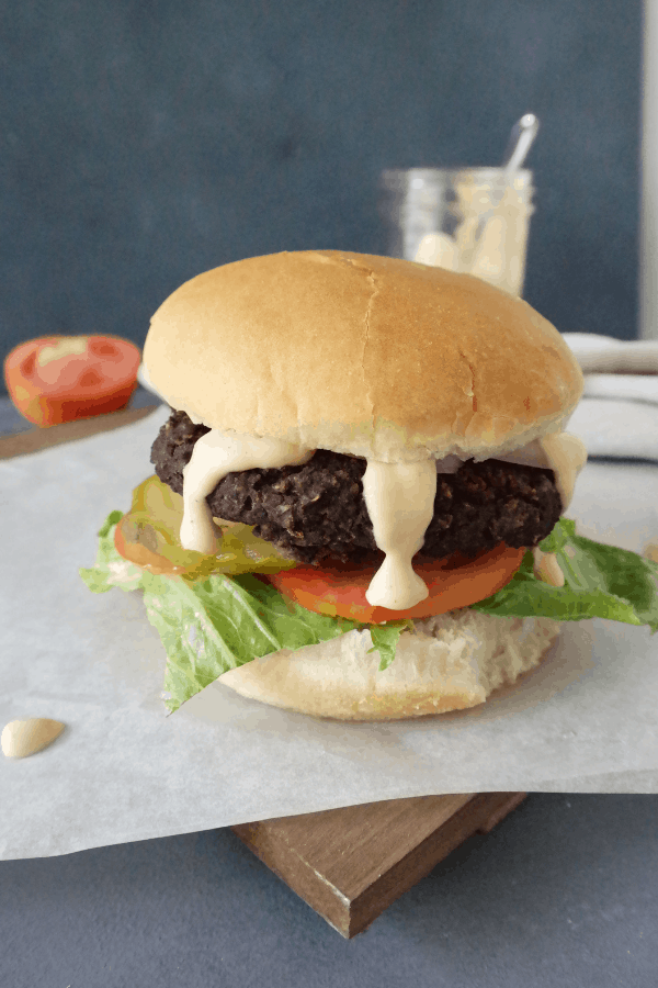 healthy vegan burger patty with black beans and mushrooms