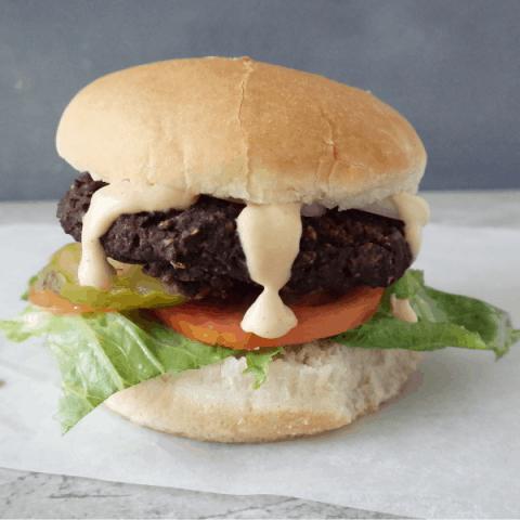 Vegan Mushroom Black Bean Burger