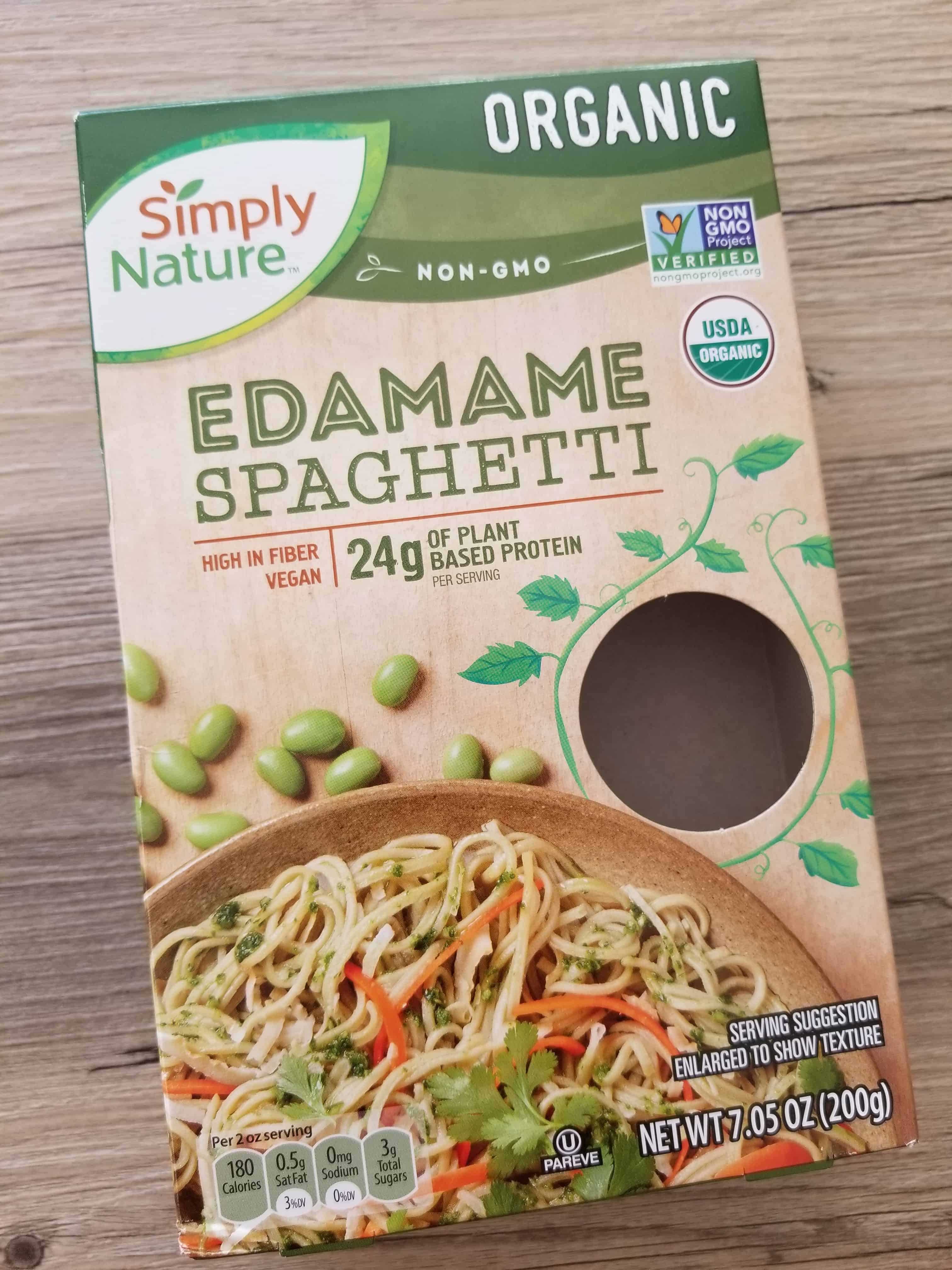 Aldi's simply nature organic edamame spaghetti non gmo gluten free vegan high protein