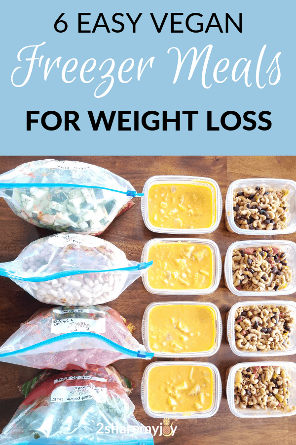 6 easy vegan freezer meals for healthy weight loss meal prep.