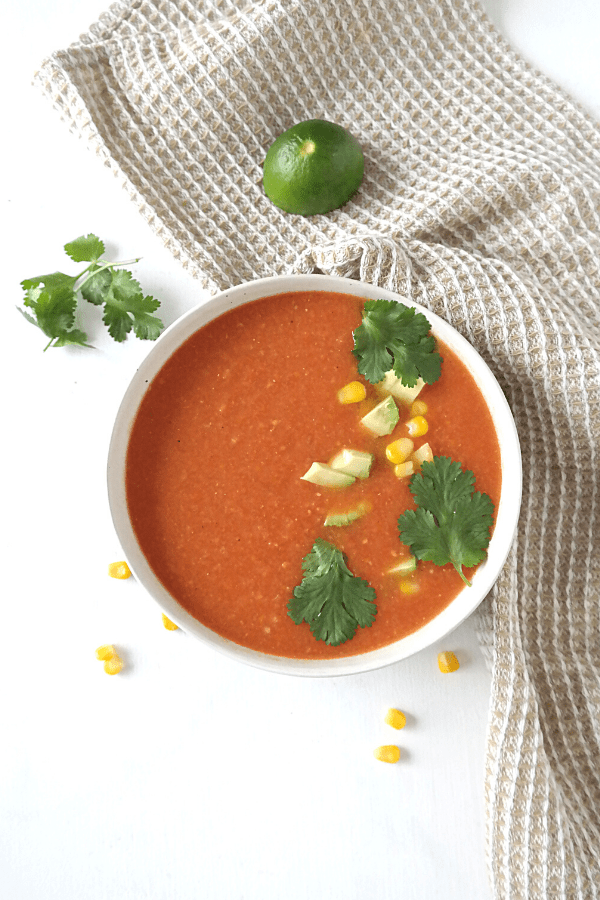 Easy vegan Mexican tomato soup recipe, whole food plant based