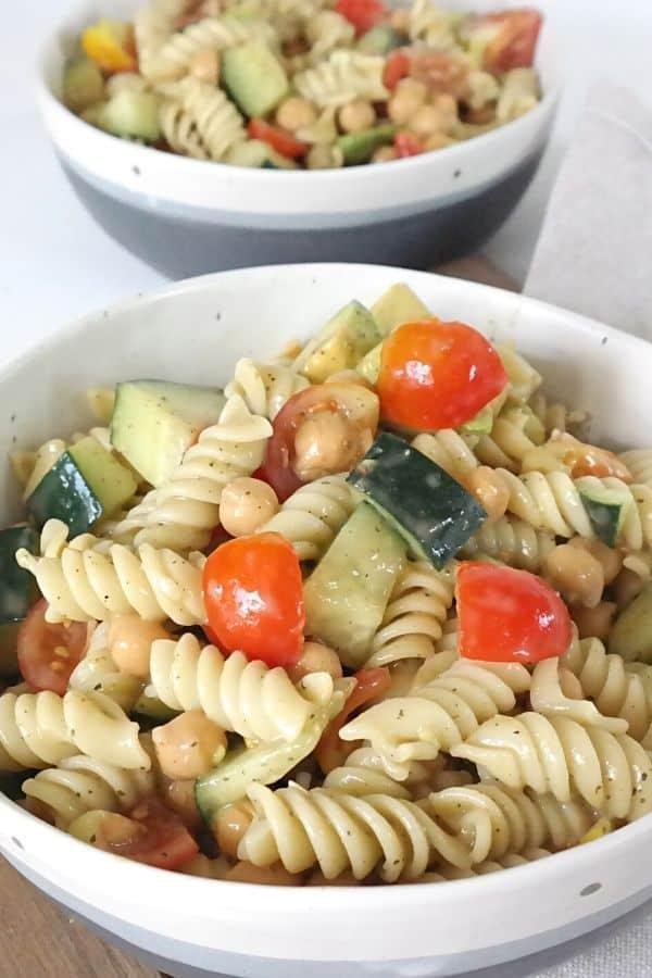 Vegan caprese salad with oil free dressing