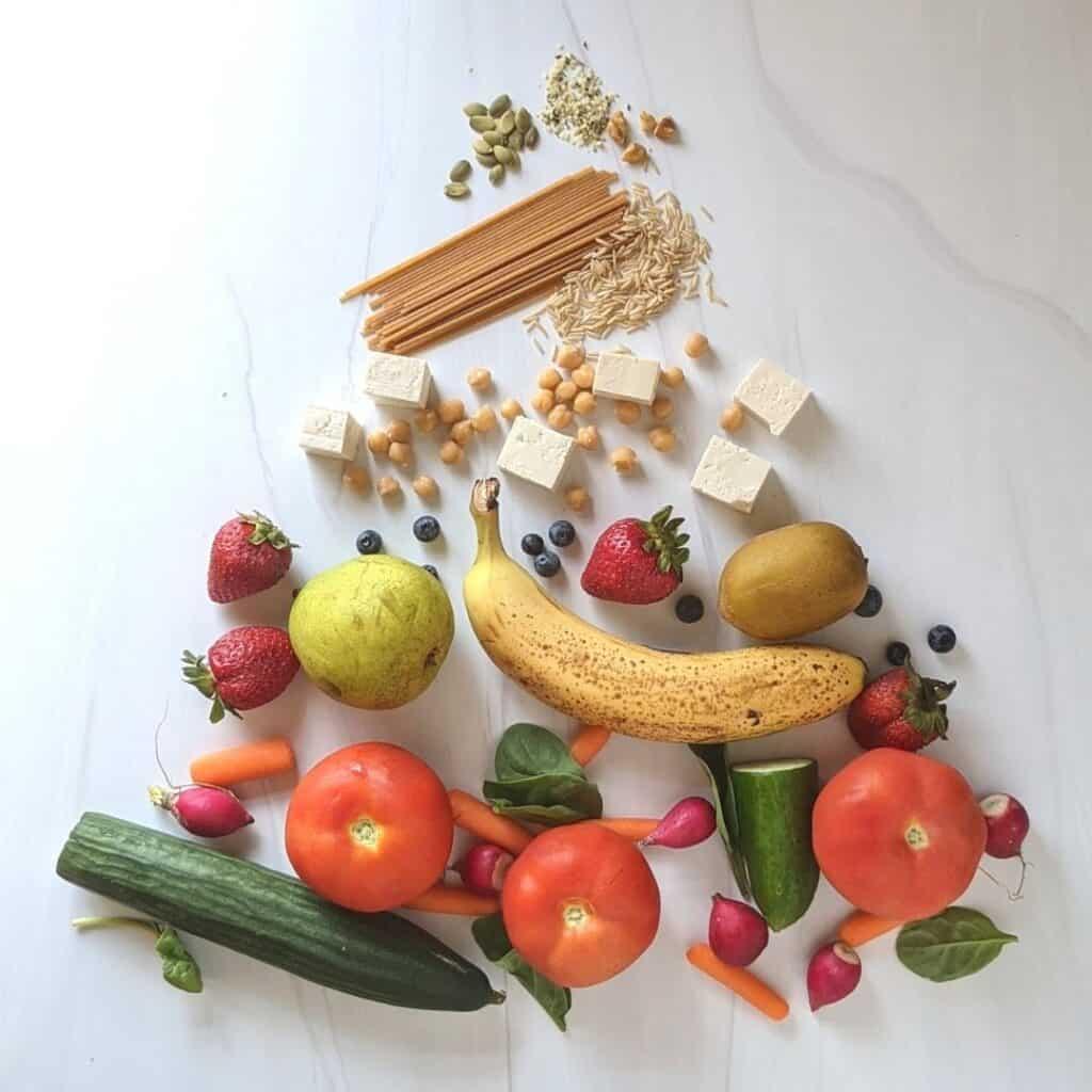 VEGAN food pyramid food chart for weight loss