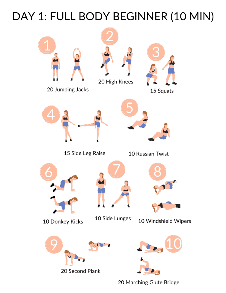 full body beginner workout for the 5 day workout routine at home