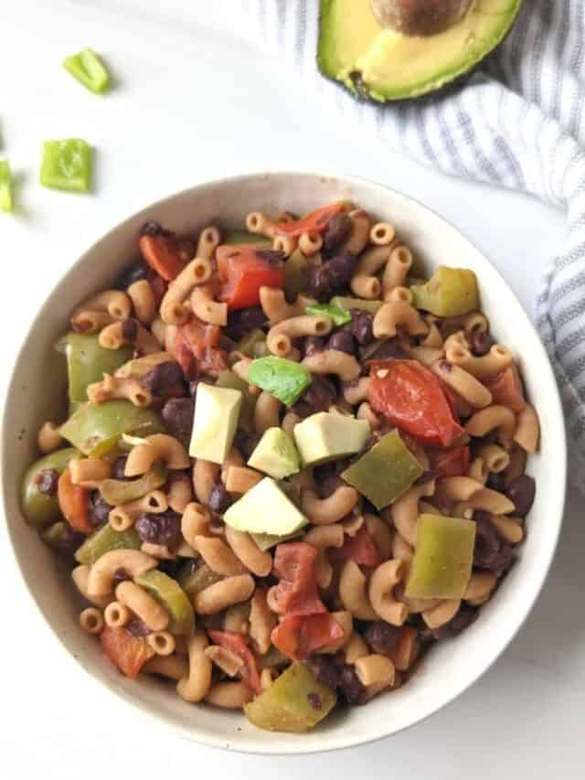 easy taco pasta recipe in a bowl high protein