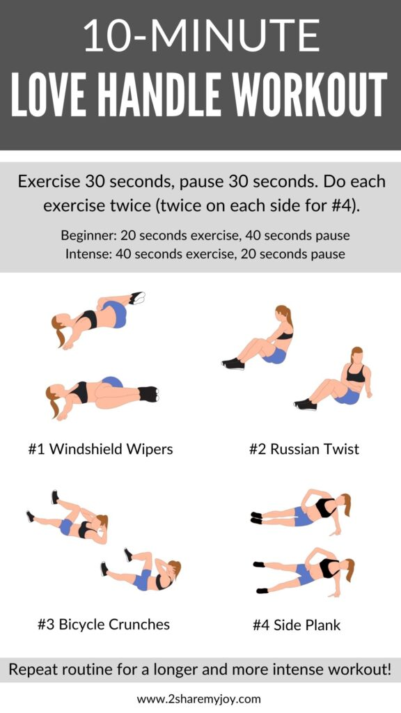 Love handle workout at home for beginners, men, and women. Without equipment or weights. Perfect quick oblique exercises for any level.